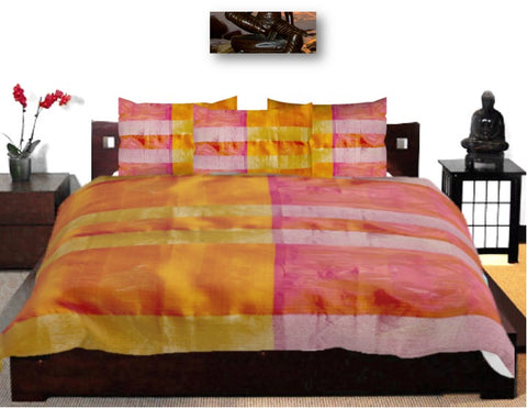 Ethnic Indian Duvet Cover. Unique South India's silk saree print- yellow meets onion pink. Cuddle-soft duvet cover for your bedroom. From Artikrti.