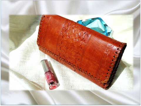 Classy Handmade handbag. Leather clutch Purse. Indian, hand embossed. Honey brown leather handbag. From Artkrti.