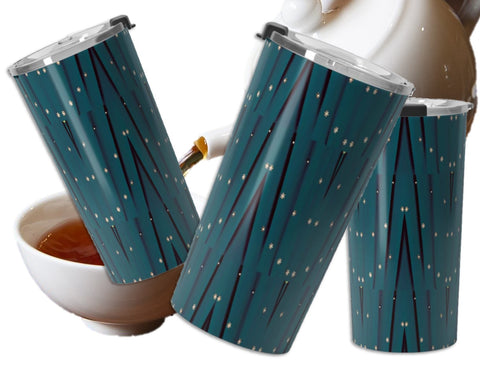 Christmas green travel coffee mug- insulated, clear lid, leak proof.  Sequin star Indian design.  Artikrti.