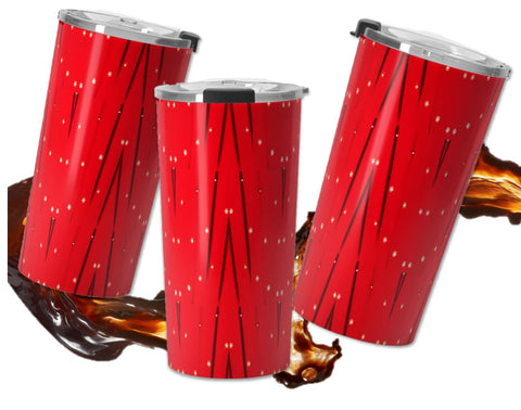 Holiday red travel coffee mug- insulated, clear lid, leak proof.  Sequin star Indian design.  Artikrti.