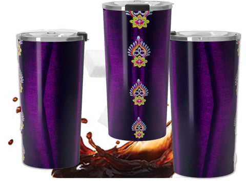 Purple custom designed travel coffee mug- double walled stainless steel.  Diwali Indian design.  Artikrti.