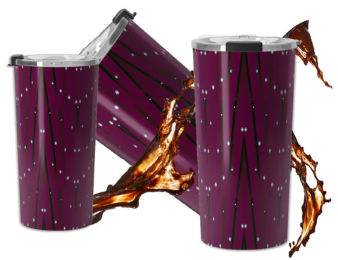 Burgundy or maroon travel coffee mug- insulated, clear lid, leak proof.  Sequin star Indian design.  Artikrti.