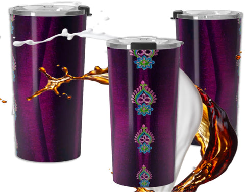 Burgundy custom designed travel coffee mug- double walled stainless steel.  Diwali Indian design.  Artikrti.