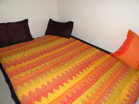 Cotton Indian Bedspread, handwoven. Daybed or divan cover. Floor seating decorative linen. Home decor, Indian, Yellow Orange sheet. From Artikrti.