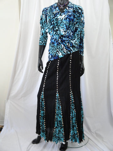 Indian black cotton skirt-crushed, sequin work artikrti4