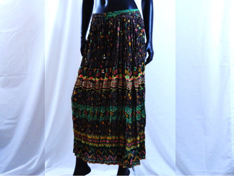 Indian boho, gypsy skirt. Maxi, Indian, long, crushed cotton skirt. Crinkled, Ethnic skirt. From Artikrti.