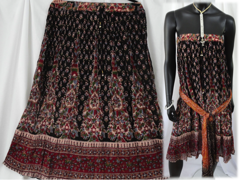 Crushed crepe black pink n red skirt. Crinkled long, ethnic, Indian, gypsy belly dancer skirt. From Artikrti.