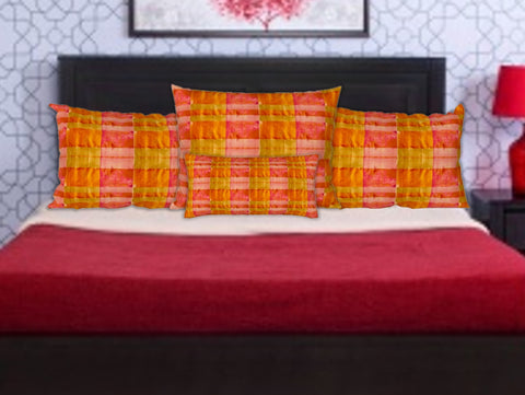 "Pink & Yellow pillow case. ""Chettinad"". Cushion cover"
