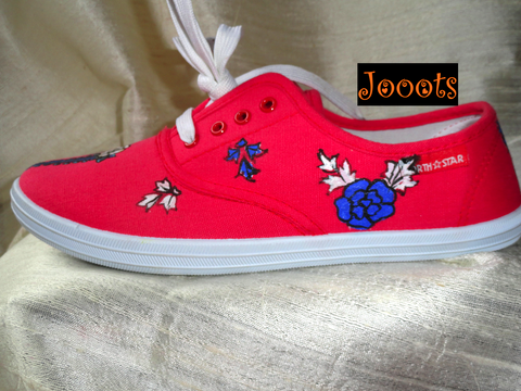Handpainted women's canvas shoes.Henna design keds. Ethnic indian shoes. Handpainted casuals.Blue Rose Henna keds. Jooots from Artikrti