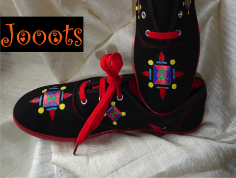 Handpainted women's canvas shoes. Rangoli design keds. Ethnic indian shoes. Handpainted casuals. Black modern Rangoli. Jooots from Artikrti