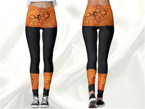 "Indian, ethnic yoga pants, black jewel leggings, dance leggings, gym wear for women- black gold. ""Temple Dancer"". From Artikrti."