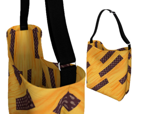 Girls' tote bag for school. Three types- day tote, origami tote and basic tote. Yellow. chocolate brown.  Artikrti