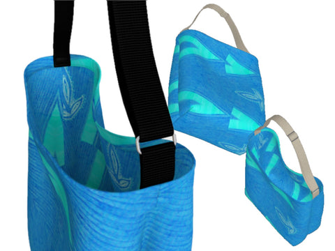 Girls' yoga tote or gym tote. Three types- basic tote, origami tote and day tote. Denim blue and teal green Artikrti
