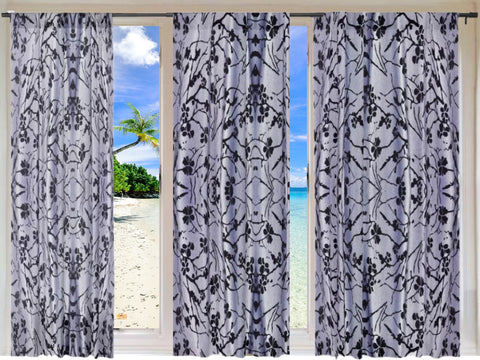 "Decorative curtains and drapes. Indian print curtains. Grey Black window drapes. ""Jasmine Rangoli"" from Artikrti"