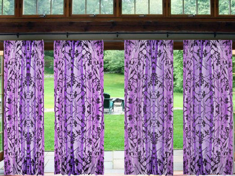 "Curtains store: Indian print curtains. Mauve Black window drapes. ""Jasmine Rangoli"" from Artikrti"