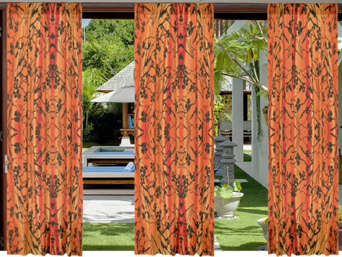"Indian curtains. Decorative curtains and drapes. Orange Black window drapes. ""Jasmine Rangoli"" from Artikrti"