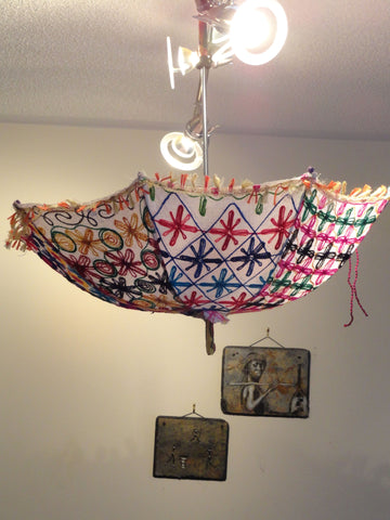 Ceiling lampshade from india fabric umbrella lamp shade colorful ceiling lampshade from india fabric umbrella lamp shade colorful ethnic embroidered decor ornament mozeypictures Image collections