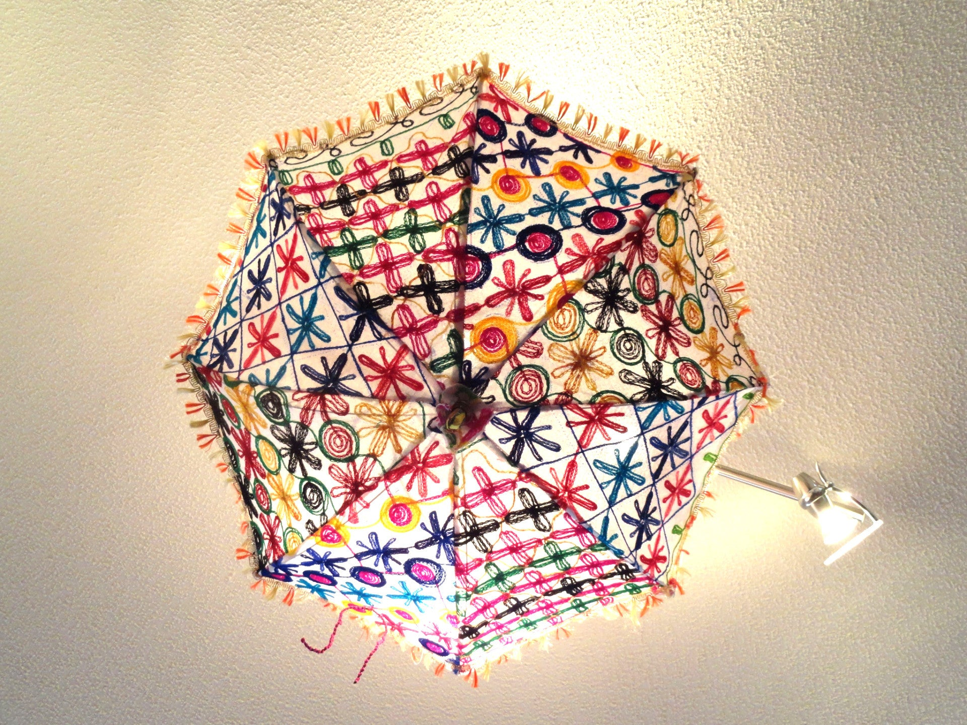 Ceiling lampshade from india fabric umbrella lamp shade colorful ceiling lampshade from india fabric umbrella lamp shade colorful ethnic embroidered decor ornament aloadofball Choice Image