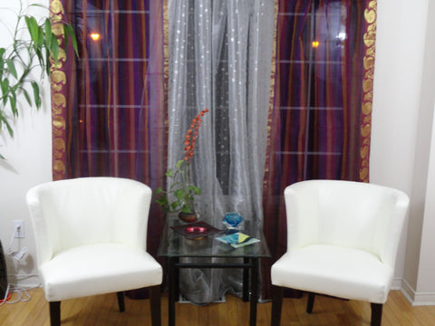 Custom designer Indian drapes or curtains. French Window, Living or bedroom. Ethnic curtains or valence. Dual tone wine, gold and purple tissue organza and zari work curtains. From Artikrti.