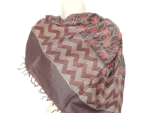 Ethnic indian brown and red scarf, Indian silk shawl, geometric infinity scarf, classy wedding scarf, ethnic gift. From Artikrti