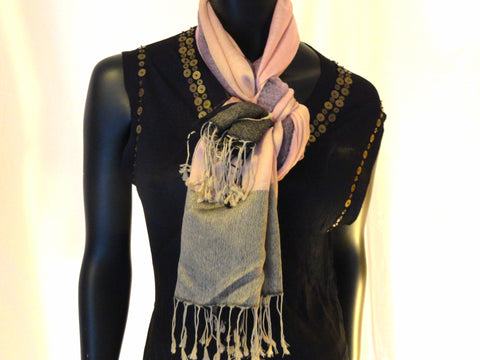 Indian Silk wool shawl. Ethnic winter scarf, pastel pink black shawl. Indian stripes winter shawl. Ethnic infinity scarf. From Artikrti