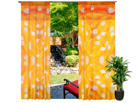 Indian curtains or drapes. Ethnic fall color look- mango yellow with leaf. Living room drapes. From Artikrti.