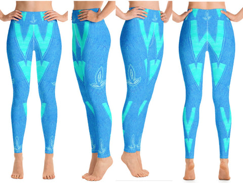 "Yoga pants for girls. High waist gym leggings for women- blue teal. Matching sports bra. ""Diya"". From Artikrti."