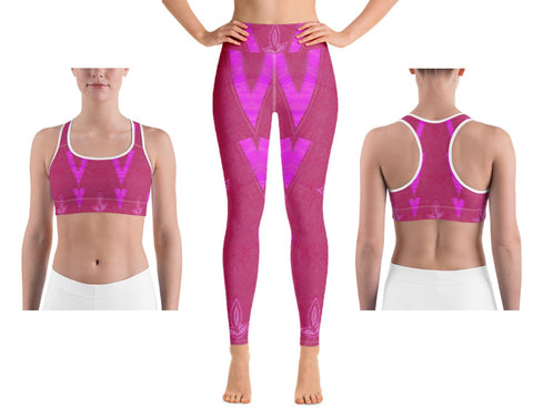 "Activewear Bra or Sports Bra. Fuchsia or magenta pink. Unique Indian design print-""Diya"". From Artikrti."