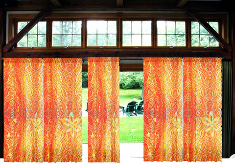 Indian curtains or drapes. Housewarming gift. Ethnic Indian. Orange and yellow valences. From Artikrti.