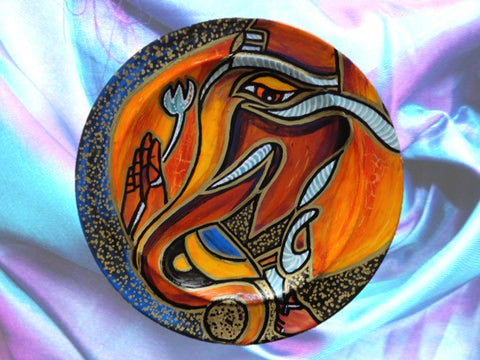 ganesh oil painting on ceramic plate artikrti