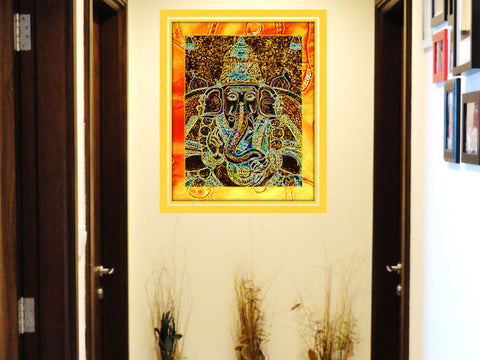"Ganesh Poster Art Print. Home decor wall art. Yoga room Indian Art- ""Prosperity"".  Artikrti"