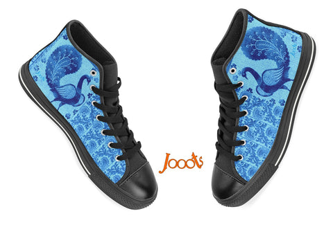 "Boho high tops black sneakers for women. Cool keds with ethnic Indian designs. Black blue purple. ""Strutting Peacock"". Jooots from Artikrti"