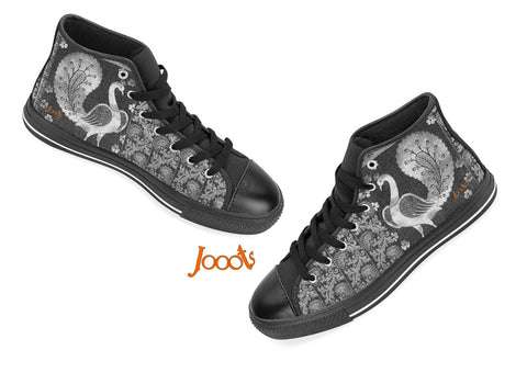 "Unique high tops sneakers for women. Cool keds with ethnic Indian designs. Black blue pink. ""Strutting Peacock"". Jooots from Artikrti"