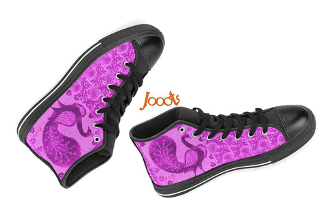 "Summer casual black sneakers for girls. Cool keds with ethnic Indian designs. Black blue purple. ""Strutting Peacock"". Jooots from Artikrti"