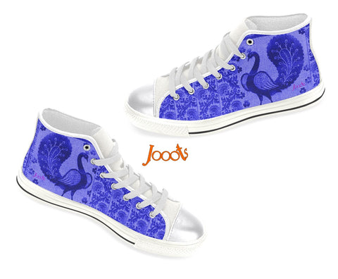"Women's sneakers, high tops. Cool keds with ethnic Indian designs. Black & White, blue, pink. ""Strutting Peacock"". Jooots from Artikrti"