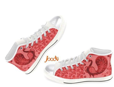 "Cool keds with henna designs. Girls' high tops. Black & White, blue, pink. ""Strutting Peacock"". Jooots from Artikrti"