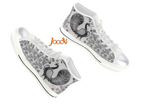 "Unique high tops sneakers for girls. Cool keds with ethnic Indian designs. Black & White, blue, pink. ""Strutting Peacock"". Jooots from Artikrti"
