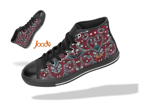 "Hi tops for college-girls- cool sequin design. Sneakers burgundy green keds. Indian design- ""Sequin Love"" . Jooots from Artikrti"