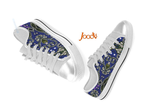 "Sneakers for college- girls- cool sequin design. Low tops blue black keds. Indian design- ""Sequin Love"" . Jooots from Artikrti"