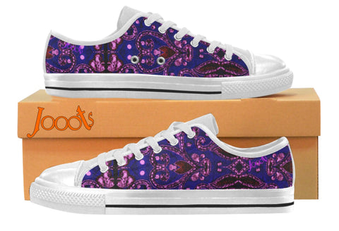 "Sneakers for college- girls- cool sequin design. Low tops blue purple keds. Indian design- ""Sequin Love"" . Jooots from Artikrti"