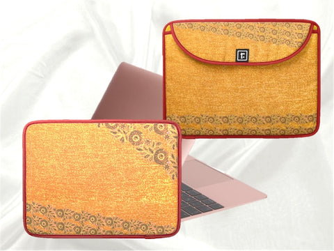 macbook or laptop bag or case yellow lace design artikrti1