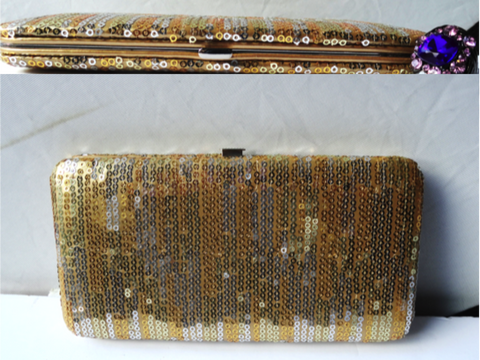 Gold and silver sequin clutch. Ethnic envelope wallet. Carryall wallet.Indian dressy Clutch purse bag. Wedding twofold wallet. From Artkrti.