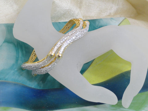 "Handmade wedding bangle bracelets- ""Shimmering Shoreline"". Unique white stone wavy bracelet bangles. From Artikrti."