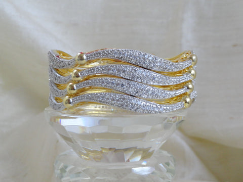 "Handmade wedding bangle bracelets- ""Shimmering Shoreline"". Unique white stone wavy bracelet bangles. Indian Gold covered brass wrist wear. From Artikrti."