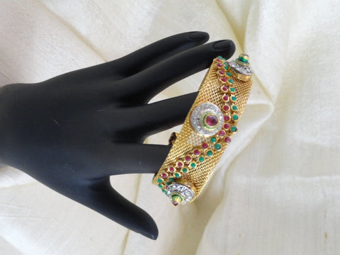 Green and red minakari bracelet. Handmade netted bracelet with red and green stones. Ethnic Indian meenakari bangle.  Indian Jewelry.  From Artikrti.