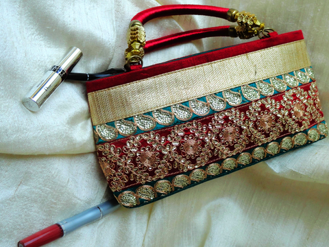 gold and red dress purse handbag-silk and sequins