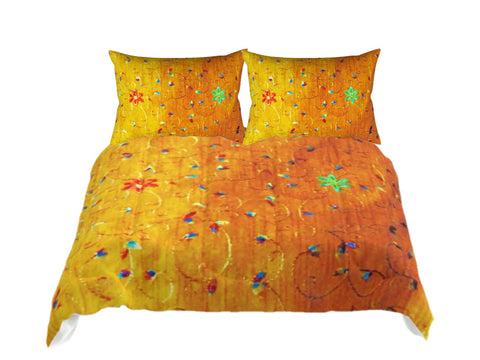"Cosy Comforter set- Queen, King, Twin, Full size comforters- golden yellow. Matching pillow covers. ""Tapati"". Artikrti."