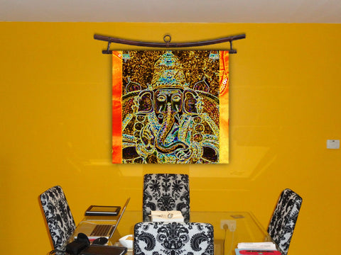 "Ganesh Wall Hanging. Indian Fabric Art wall tapestry. Vinayaga Yoga room Decor Idea. Contemporary Indian Art- ""Prosperity"". Artikrti"