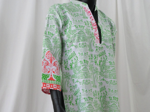 White Yoga tunic or top. Soft Cotton long dress top with cave art figures in green. Summer boho casual blouse or top. ComfyCottons from Artikrti.