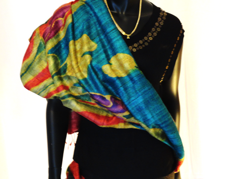 Hand painted Indian multicolour silk scarf. Stunning ethnic silk shawl or wrap. Classy wedding or party stole. From Artikrti